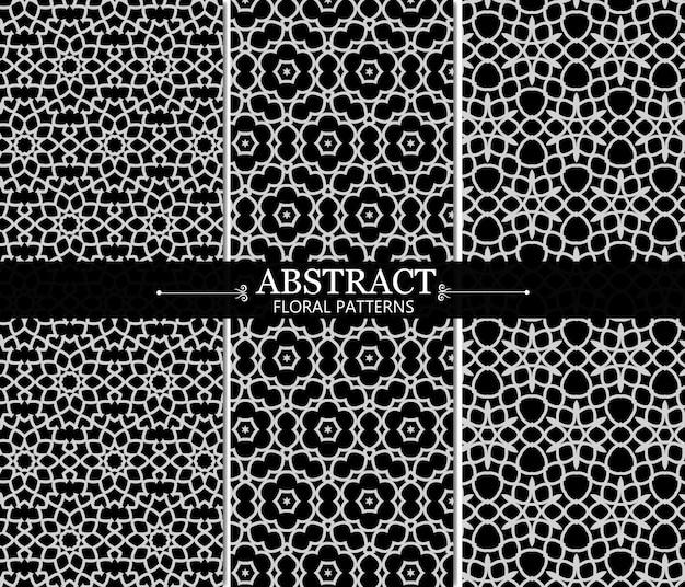 Zwart-wit abstract bloemenpatrooninzameling