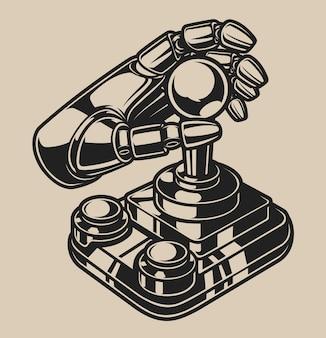 Zwart-wit afbeelding met retro joystick op een witte achtergrond. .