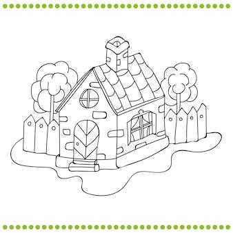 Zwart-wit afbeelding van een huis vector kleurboek