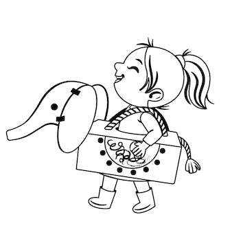Zwart-wit afbeelding van een klein meisje dat speelt met haar eigen gemaakte speelgoed