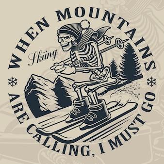 Zwart-wit afbeelding van een skelet is skiën vanaf de berg.