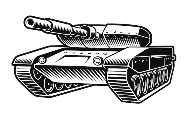 Zwart-wit afbeelding van een tank op wit wordt geïsoleerd
