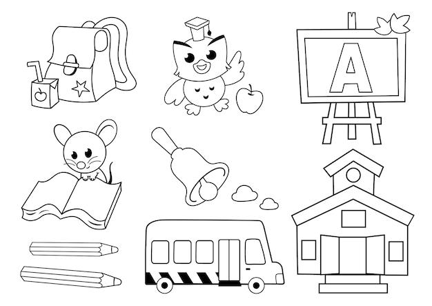 Zwart-wit afbeeldingen van een terug naar school concept vectorillustratie