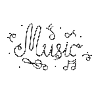 Zwart-wit belettering muziek. zwart-witte letters met melodische noten