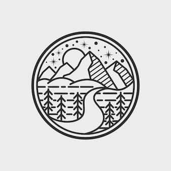 Zwart-wit berg logo sjabloon