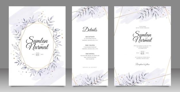 Zwart-wit bladeren bruiloft uitnodiging decorontwerp met gouden gestreept