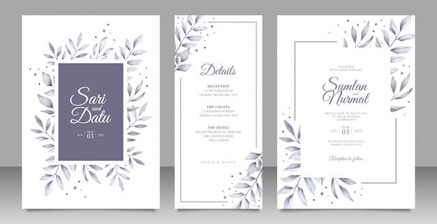 Zwart-wit bladeren bruiloft uitnodiging decorontwerp