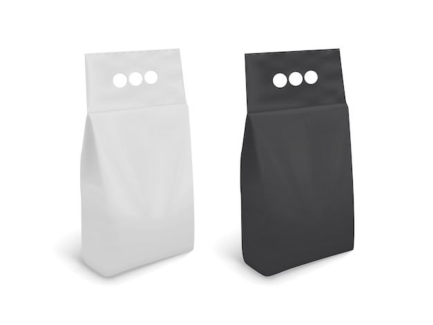 Zwart-wit blanco verpakking geïsoleerd op een witte achtergrond