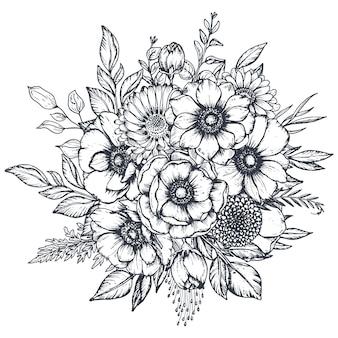 Zwart-wit bloemencompositieboeket van handgetekende anemoonbloemen, knoppen en bladeren