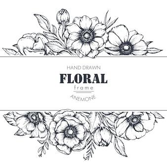 Zwart-wit bloemenframe met boeketten van handgetekende anemoonbloemen, knoppen en bladeren