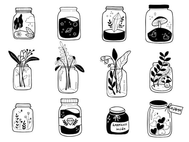 Zwart-wit botanische mason jar