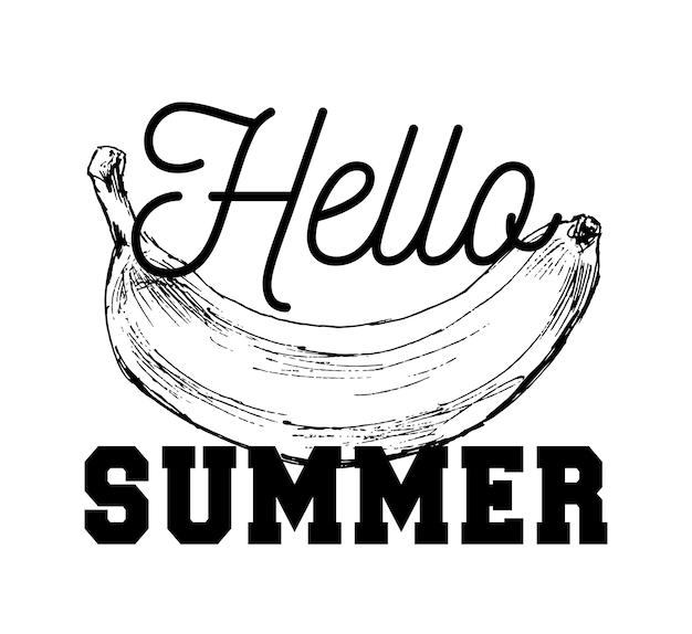 Zwart-wit cartoon illustratie van banana fruit voedselobject voor coloring book slogan hallo zomer