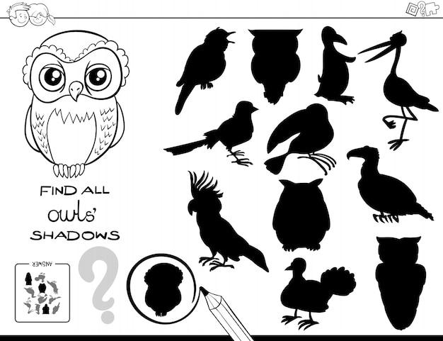 Zwart-wit cartoon illustratie van het vinden van alle uilen schaduwen