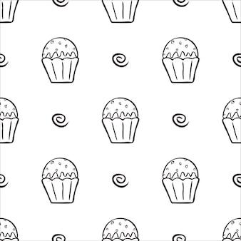 Zwart-wit cupcakes naadloos patroon. hand getekende muffins achtergrond. geweldig voor het kleuren van boeken, inpakken, afdrukken. vector illustratie