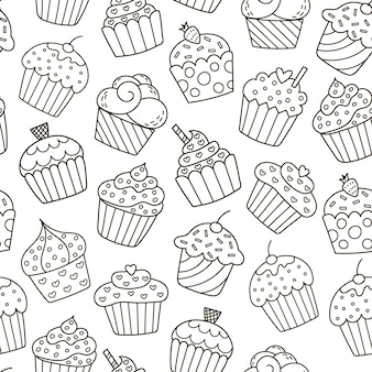 Zwart-wit cupcakes naadloos patroon