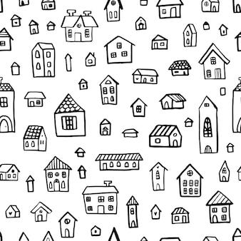 Zwart-wit doodle naadloze patroon met schattige huizen.