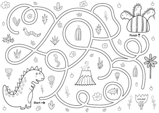 Zwart-wit doolhofspel voor kinderen help de moederdinosaurus de weg naar haar baby-dino's te vinden afdrukbare labyrint-activiteit voor kinderen