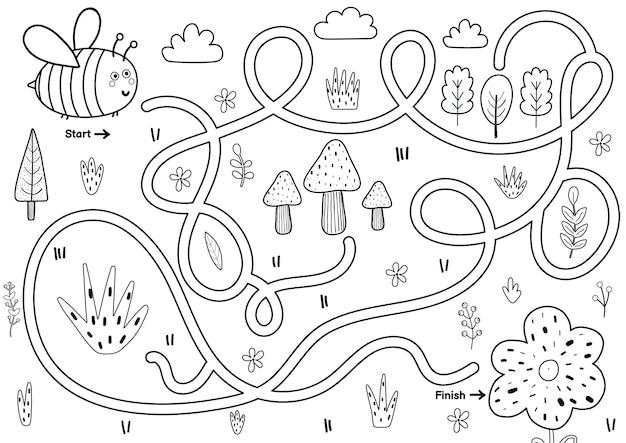 Zwart-wit doolhofspel voor kinderen help de schattige bij de weg naar de bloem te vinden afdrukbare labyrint-activiteit voor kinderen