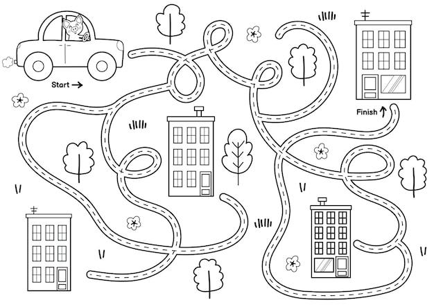 Zwart-wit doolhofspel voor kinderen help de schattige hondenrit om de afdrukbare labyrint-activiteit voor kinderen te voltooien