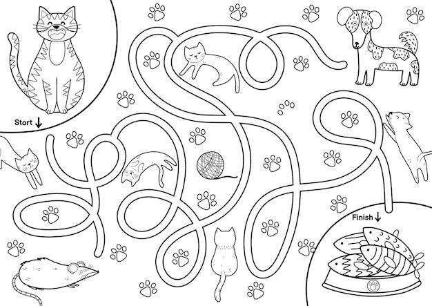 Zwart-wit doolhofspel voor kinderen help de schattige kat de weg naar de vis te vinden afdrukbare labyrint-activiteit voor kinderen