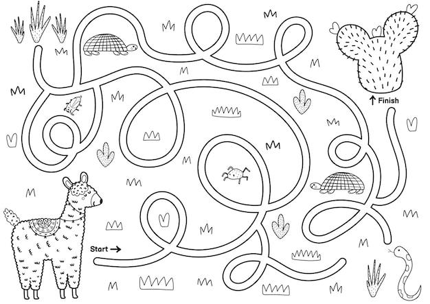 Zwart-wit doolhofspel voor kinderen help de schattige lama de weg naar de cactus te vinden afdrukbare labyrint-activiteit voor kinderen