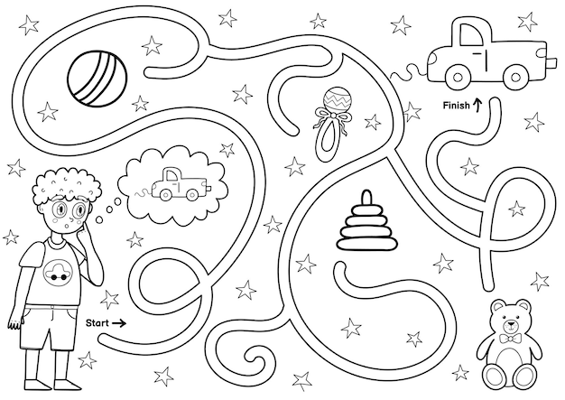 Zwart-wit doolhofspel voor kinderen help kleine jongen de weg naar de speelgoedauto te vinden afdrukbare labyrintactiviteit voor kinderen