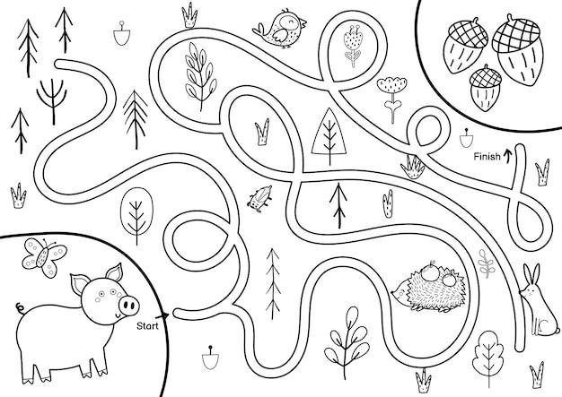 Zwart-wit doolhofspel voor kinderen help schattig varken de weg naar de eikels te vinden afdrukbare labyrint-activiteit voor kinderen