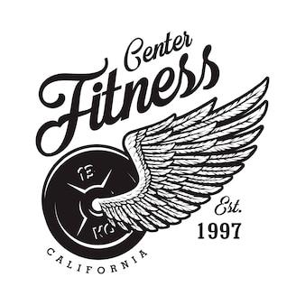 Zwart-wit fitness logo met gewicht adelaar vleugel inscriptie