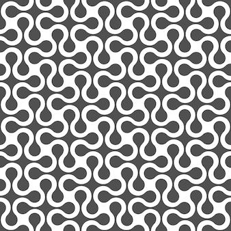 Zwart-wit gebogen geometrisch naadloos patroon