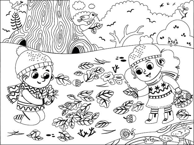 Zwart-wit gelukkige kinderen die plezier hebben in het herfstpark
