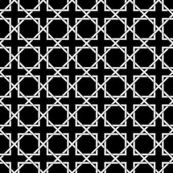 Zwart-wit geometrische naadloze patroon in arabische stijl