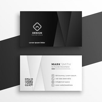 Zwart-wit geometrische visitekaartje ontwerpsjabloon