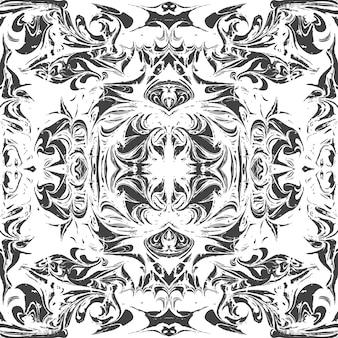 Zwart-wit gespiegeld hand getekend ebru papier marmering vloeibare verf kunstwerk decoratie textuur achtergrond naadloze patroon