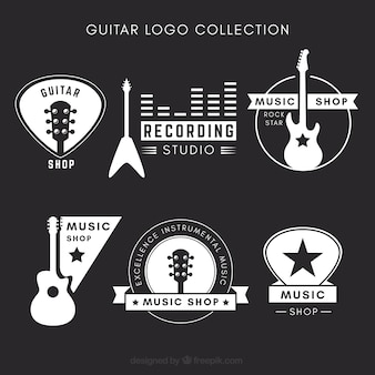 Zwart-wit gitaar logo collectie