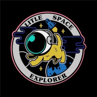 Zwart-wit grafische vintage pictogrammen geborduurde patches stickers spelden met eerste kleine hondastronaut in ruimteverkenner