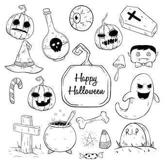 Zwart-wit halloween-elementen of illustratie instellen met schetsmatige stijl
