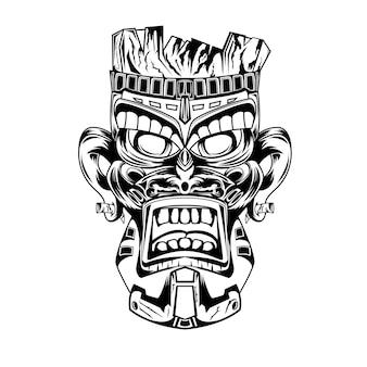 Zwart-wit hand getekend illustratie tiki masker tatoeages duivel indiaan