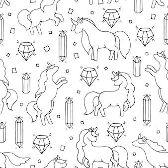 Zwart-wit hand getekend naadloos patroon met eenhoorns en edelstenen.