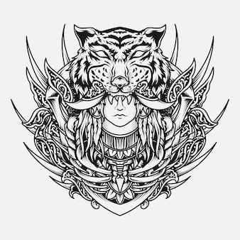 Zwart-wit hand getekend tijger en menselijke gravure sieraad