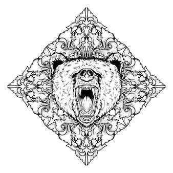 Zwart-wit hand getekende illustratie beer hoofd en gravure ornament premium