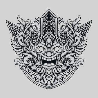 Zwart-wit hand getekende illustratie mayan barong