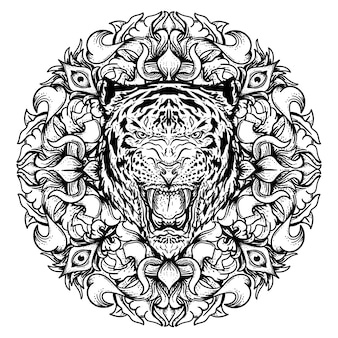 Zwart-wit hand getekende illustratie tijger met cirkel gravure ornament premium