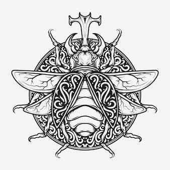 Zwart-wit hand getrokken illustratie bug gravure ornament