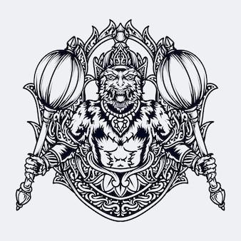Zwart-wit hand getrokken illustratie hanoman gravure ornament