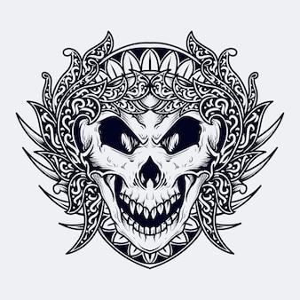 Zwart-wit hand getrokken illustratie schedel gravure ornament