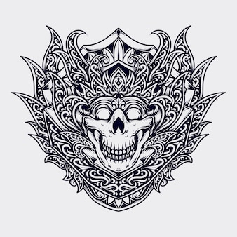 Zwart-wit hand getrokken illustratie schedel koning gravure ornament
