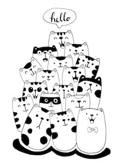 Zwart-wit hand tekenen cat characters stijl doodles illustratie voor kinderen