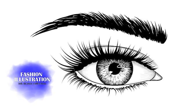 Zwart-wit handgetekende beeld van oog