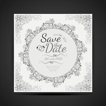 Zwart-wit handgetekende mandala ontwerp bruiloft invitaion kaart
