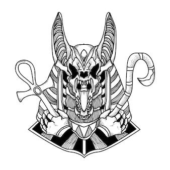 Zwart-wit handgetekende tattoo en t-shirt ontwerp schedel anubis premium vetor
